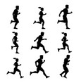 group of runners silhouettes of male and female vector image vector image