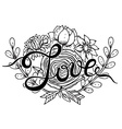 Hand lettering word Love with hand drawn floral vector image