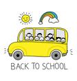 happy schoolbus doodle vector image