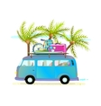 Holiday summer trip bus for beach tropical vector image