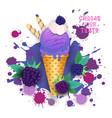 ice cream blackberry cone colorful dessert icon vector image