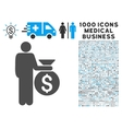 Investor Icon with 1000 Medical Business Symbols vector image vector image