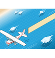 Isometric White Plane in Flight with Aerial Banner vector image vector image