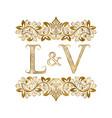 l and v vintage initials logo symbol letters vector image vector image