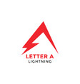 letter a lightning graphic design template vector image