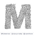letter m symbol of white leaves vector image vector image
