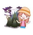 little tourist girl in the landscape vector image vector image