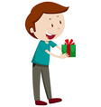 Man holding present box vector image vector image