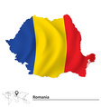 Map of Romania with flag vector image vector image