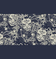 monochrome pattern with a kitsune mask vector image vector image