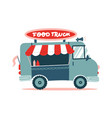 opened street food truck with awning striped tent vector image