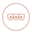 Orthodontic braces line icon vector image