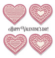 pink heart cookies collection for valentines day vector image vector image