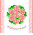 Pink wedding invitation vector image
