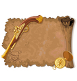 Pirate Scroll Gun and Compass vector image vector image