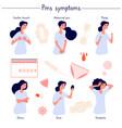 pms symptoms female stress abdominal pain acne vector image vector image