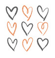 set 9 decorative hearts vector image vector image