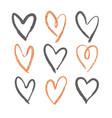 set of 9 decorative hearts vector image vector image