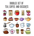set of colored sketches of teapots cups tea vector image