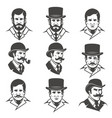 set of gentlemans heads isolated on white vector image vector image