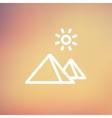 The Pyramids of Giza thin line icon vector image vector image