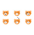tiger emojis set cute tiger face emoticon with vector image