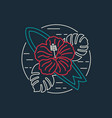 tropical surf icon with flower in flat line style vector image vector image