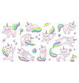 unicorn cat cute doodle animal with kawaii face vector image