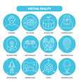virtual reality icon set in thin line style vector image vector image