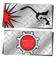 welding machine in hand business card vector image vector image