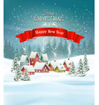 winter village christmas holiday background vector image