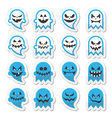 Halloween scary ghost spirit icons set vector image