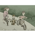 family on the bikes in the forest vector image