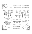 Monochrome hand drawn boho tribal elements vector image