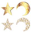 Crescent Moon and Star Symbols2 vector image