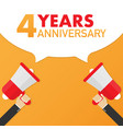 4 years anniversary - advertising sign with vector image