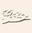 a flock birds drawn sketch vector image vector image