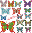 a large set of colored butterflies vector image vector image