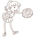 A plain sketch of a cheerer with pompoms vector image vector image