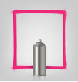 aerosol spray on grey background with pink frame vector image vector image