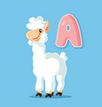 alpaca cartoon character with letter a vector image