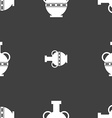Amphora icon sign Seamless pattern on a gray vector image vector image