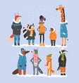 animals wearing warm clothes collection platypus vector image vector image