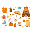 autumn cozy set cute cartoon vector image vector image