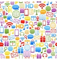 background made from colorful network icons vector image