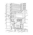 big city outdoors courtyard town sketch drawing vector image