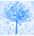Blue snowflakes on the tree abstract background vector image vector image