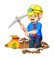 businessman digging bitcoin in the rock vector image
