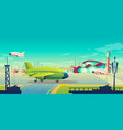 cartoon green airliner on vector image