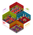 casino rooms isometric set vector image vector image